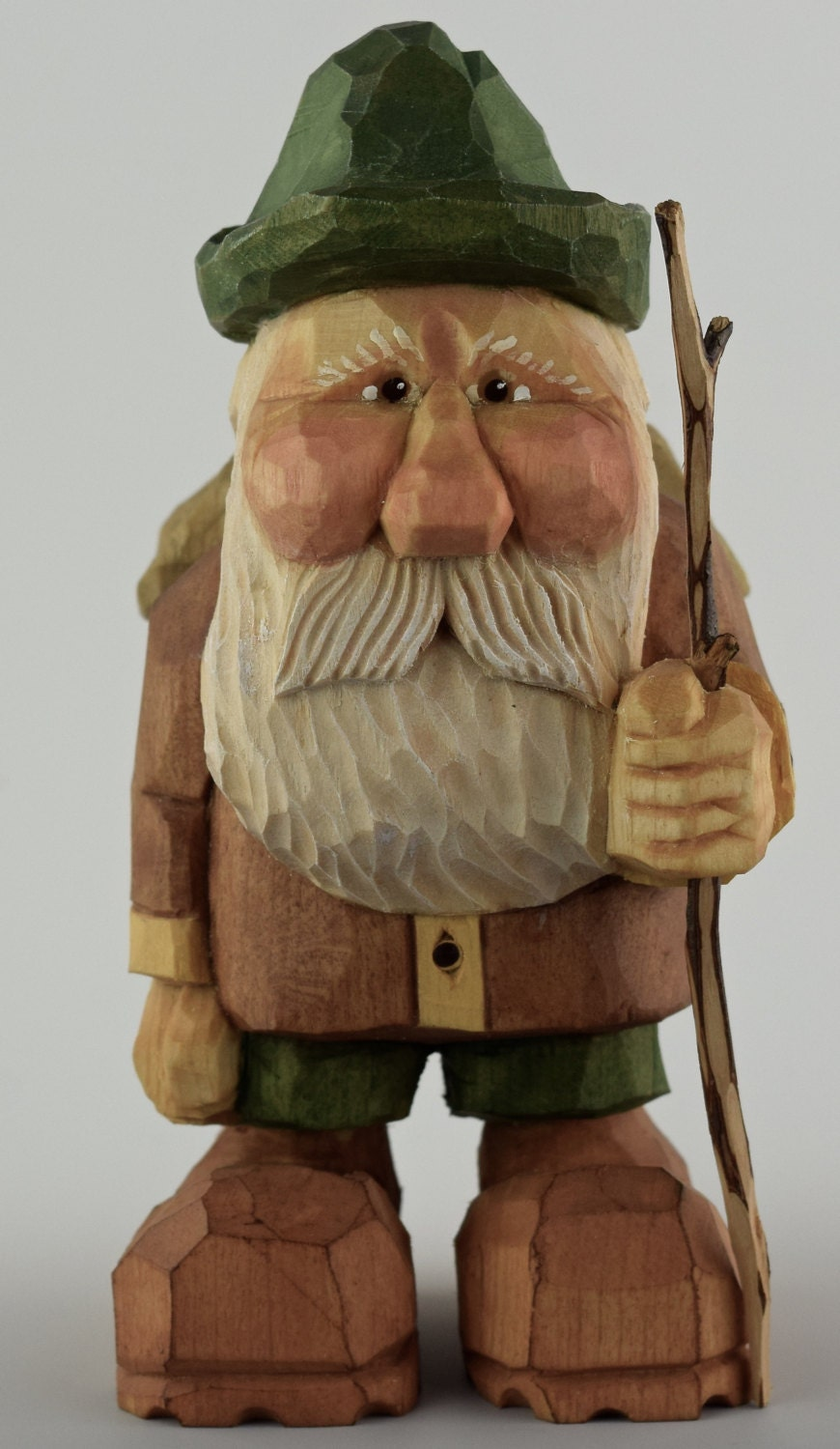 Hiker wood carving nordic gnome caricature backpack