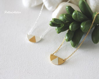 Two Tone Semi Circle Necklace in Matte Silver/  Gold. Simple Necklace. Half Circle Necklace. Layering Necklace. Timeless  (PNL- 177)