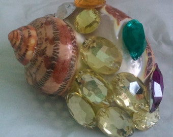 Decorated on Original Carved Bird Seashell With Beads.