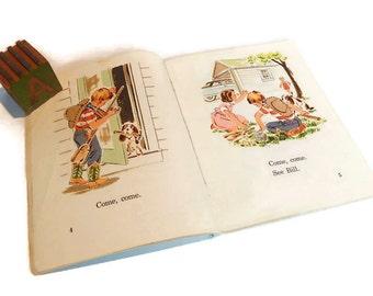 Vintage Basic Reader 1961 At Home Children's School Book Reader Sheldon Basic Reading Series Allyn & Bacon Illustrated by Beatrice Derwinski