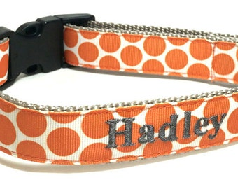 Personalized  Dog  Collar - Orange Dots Personalized Dog Collar