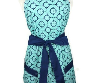 Classic Apron for women, Blue Apron, Navy ties, bridal shower gift, Christmas gift, optional monogram, gifts for mom, cute pinup apron