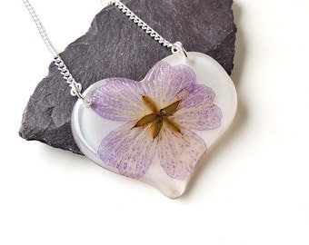 Large Flower Heart Necklace, Purple Lilac & White Flower Necklace, Resin Jewellery, Statement Necklace, Botanical Jewellery, UK, 514