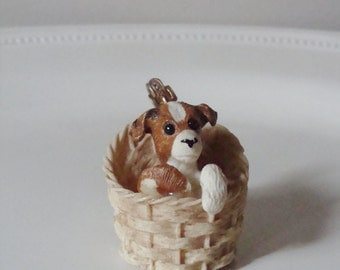 Vintage Pendant - Razza Basket Pendant - Puppy in a Basket - Dog Charm