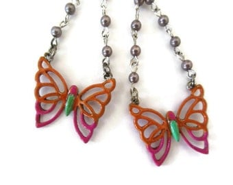 butterfly multi color dangle earrings, hand painted, beaded rosary style, patina painted, hand made