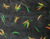 Red, Green and Yellow Chili Peppers on Black Cotton Fabric 2 1/2 Yards X0461