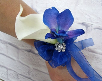 Blue orchid Calla lily Wrist corsage - Wedding corsage Mother of the bride corsages