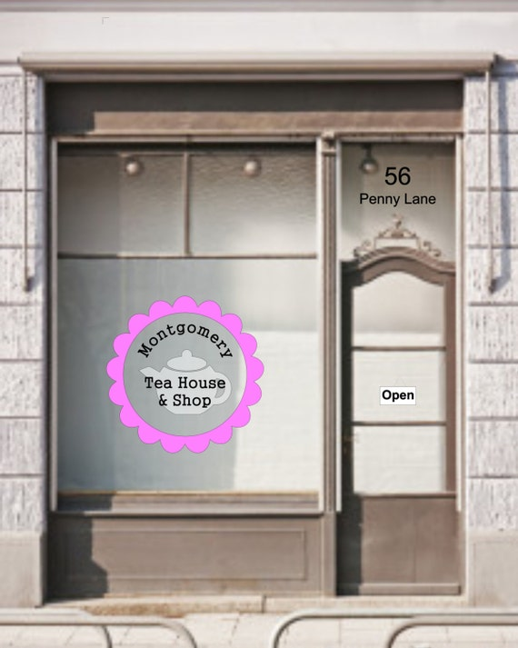 Store Name / Brand Name / burger shop / tea house / open closed / vinyl sign / window sign / business hours / storefront