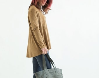 Leather tote women, Gray Leather tote, 50% sale, Zipper Bag, Leather Shoulder Bag, Soft Leather Bag, Womens Handbag, Women gift, bag for her