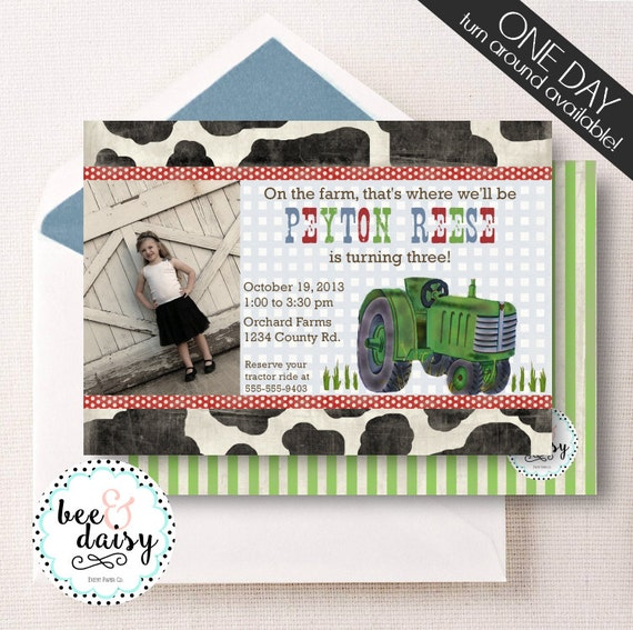 Vintage Tractor Invitation, Tractor Birthday Invitation, 0Tractor Party, Boy First Birthday, Boy Birthday, Printable Tractor Photo Invite