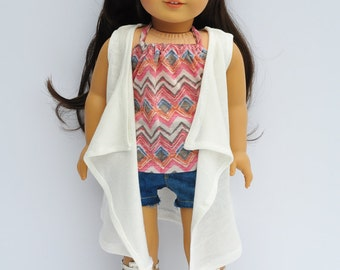 American Doll Clothes - Off White Cascade Vest, Wrap, Sweater, AG Doll, 18 inch