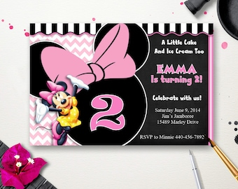 Minnie Mouse Birthday Invitation - Digital Download - 4 x 6 - Printable - Personalize