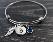 Wire Bracelet / Initial Bracelet / Remembrance Bracelet / Angel Wing / Loss of a Loved One / Hand Stamped Jewelry / Sympathy Gift