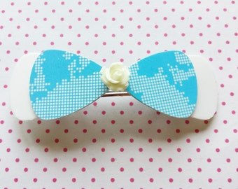 White and blue bow hairclip made of recycled creditcards and shampoo bottles (barrette) eco friendly - free shipping