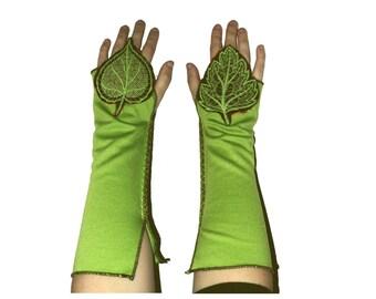 Pair arm warmers Tree of life elven leaf leaves woodland