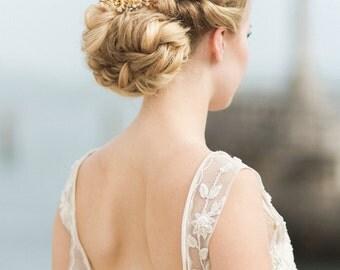 Brass Wedding Headpiece, Ivory Flora Hair Piece, Crystal Bridal Headpiece, Ivory Bridal Headpiece SIENNA