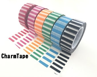 Vertical Stripes Washi Tape 15mm x 10m WT91 (red, yellow, pink, black, blue, green)