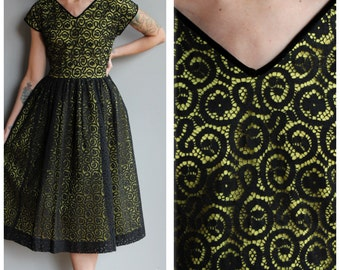 1950s Dress // Mesmerizing Web Dress // vintage 50s party dress