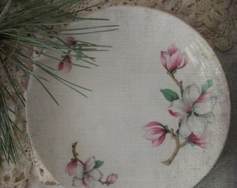 Vintage Homer Laughlin China. Dogwood Liberty Pattern China. Bread Butter Plates. Set of 2. Pink WHite Grey FLorals