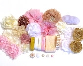 Baby Shower Headband Kit - Pink Ivory Gold & White  - Baby Shower Headband Bar- Wholesale Headband Supplies