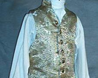 Mans Rococo Vest 18th Century Late Baroque Pirate Waistcoat