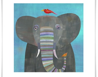 Colorful Elephant // Giclee Art Print