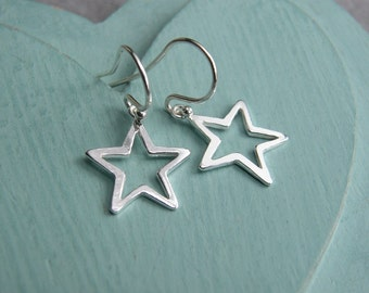 SALE, Star Earrings, Sterling silver Star, Sterling Silver Star Earrings,Outline Star Earrings,Dangle Earrings, Simple Earrings,Star Jewelry