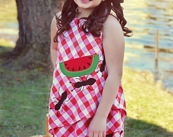 Girl's Picnic tunic with ants and watermelon