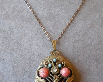 Large Locket Pendant with Ornate Jeweled Front