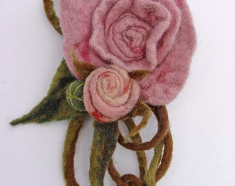 Pink bunch of roses flower brooch hand felted corsage felt flower