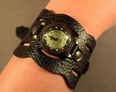 Leather Watch-Black  Watch-Wrist Watch-Women Watch-Cuff Watch-Gift For Her-Bracelet Watch-Ladies Watch-Genuine Leather-Friendship Bracelet
