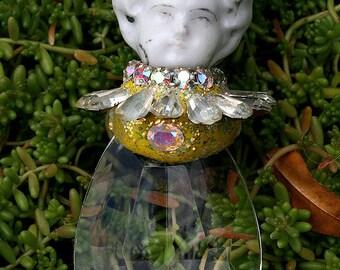 Jeweled Ornament Altered Art Doll Rhinestones Prism Assemblage Garden Lover Doll Ornament Suncatcher - Original Art Decor -Daisy