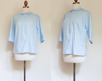 vintage 1960s pale blue collared shirt / 60s Lady Archdale button front blouse / M