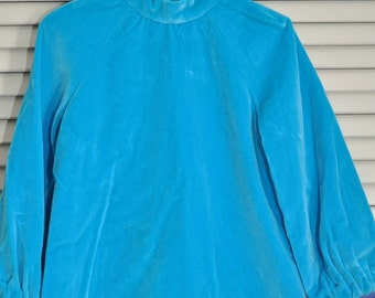 60's Vintage Girls Velvet Dress/Turquoise Blue-Green/size small 6/Handmade/Holiday Theater Costume Pageant Mid Century Child Kid Toddler