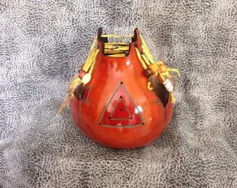 Southwestern Carved Gourd Vase