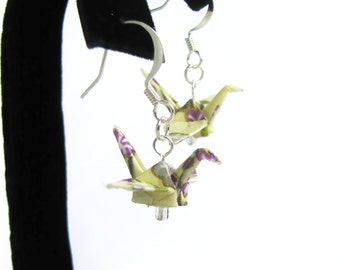 Origami Crane Earrings Off White with Purple Flowers