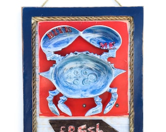 Seafood Art Metal Crab on Reclaimed Wood Vacation Beach House Coastal Beach Kids Room Beach Art Beach Baby Seafood Sign Food Art Mangoseed