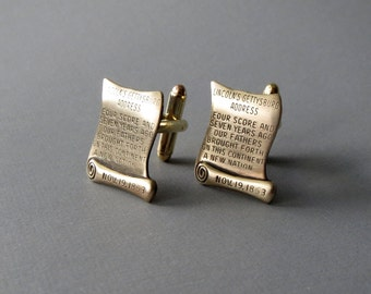 Gettysburg Address Cufflinks -- Lawyer Judge Men's Cuff Links 1776 CUFFLINKS