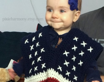 TODDLER Americana Poncho or Mexican Poncho - Photo Prop - ANY Colors - Red White Blue - Patriotic - Flag