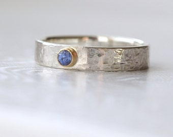 Blue Sapphire Engagement Ring in Sterling Silver and 18k Gold