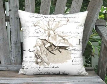 Pillow Cover - Pillow - Sepia Brown Hummingbird and Orchid French Script Bird - 16x 18x 20x 22x 24x 26x Inch Linen Cotton Cushion Cover