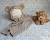 Gender Neutral Newborn Photo Prop Hat and Pant Set - Upcycled Pants with New Crochet Bear Bonnet - READY TO SHIP