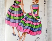 Vintage Pattern McCall's 9787 Sewing pattern 1950s full skirt dress Bust 31 Rockabilly V neck neckline Party Sleeveless 1954