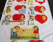 1940's Vintage Valentine Card Lot of 8 - Rare-  Unused - Unfolded - A-Meri-Card - Novelty Fold Cut-Out - Sweet Children - Adorable Graphics