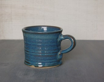 Handmade Coffee Mug, Tea Mug Pottery Gift Coffee Cup Gift for Boss Coffee Lover Blue Mug