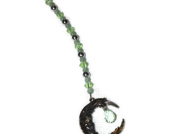 Moon & Crystal Ornament Light Green Hanging Beaded Crystal Feng Shui Sparkles Crescent Moon
