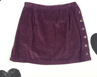90's corduroy side button mini skirt 1990's mauve grunge purple cotton cord skirt / elastic waist / mini / preppy / plum / size XL 16 14