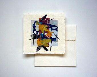 Original artwork, paper collage, nature inspired art, 6 x 6, woodland, cottage chic