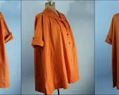 Darling Vintage 1950s Maternity Top Blouse with Pockets Pumpkin Spice Linen Handmade