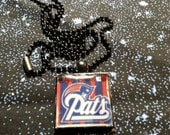 New England Patriots pendant necklace, Patriots fan Necklace, resin pendant, Pats, NFL, Football jewelry, NFL jewelry, New England